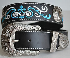 MEN WOMEN BLACK RODEO CROSS CONCHO TEXAS STAR LONGHORN LEATHER BUCKLE BELT M NEW