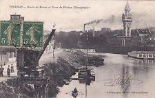 EPERNAY bords de marne et tour de l'union champenoise bâteaux grue timbrée 1917