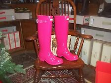 Brillo Hunter Wellies Wellingtons en Halifax Talla 7 Rosa Brillante Alto Damas