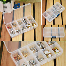 Clear Storage Case Box Holder Container Pills Jewelry Nail Art Tips 10 Grids
