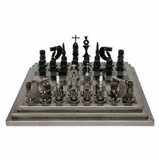 Metal Chess Set Upcycled Auto Parts Handmade 'Rustic Warriors' NOVICA Mexico
