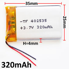 3.7V 320mAh lipo Polymer li ion Battery 402535 For MP3 MID bluetooth GPS DVD PSP
