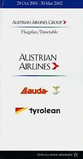 Austrian Airlines Timetable  October 28, 2001 =
