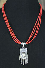 Traditional Sterling Silver and Coral Hand & Heart Necklace Mexican Folk! Frida