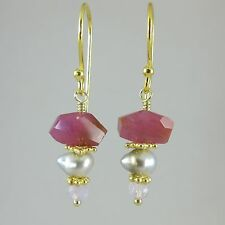 natural ruby, scapolite, and tahitian keshi pearl 24k gold vermeil earrings
