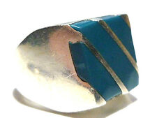 VINTAGE MENS MEXICO MEXICAN BLUE RESIN STERLING SILVER HEAVY LARGE SHIELD RING