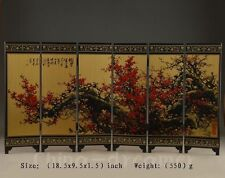 CHINESE OLD HANDWORK LACQUER PAINTING FLOWER SCREEN DECORATION COLLECTIBLES