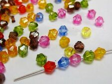 1000 Mixed Colour Transparent Acrylic Faceted Bicone Spacer Beads 4X4mm