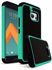 For HTC 10 Hybrid Slim Fit Black Silicone Cover Hard Teal & Black Shock Case
