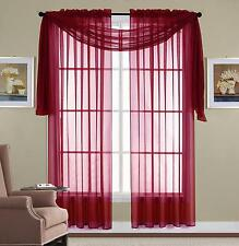 3 Piece Sheer Panel Set Window treatment covering Burgundy Curtains & Scarf