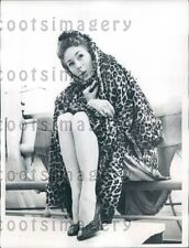 1955 CA Acrobat Dancer June Paul in Leopard Skin Coat on SS Liberte Press Photo