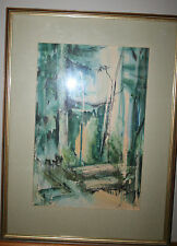 Watercolor Painting or Woodblock Toronto Artist Shirley Day 1969 Modern Art