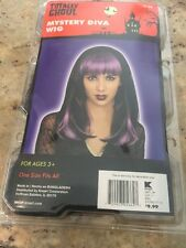 New Mystery Diva Wig Black Purple Bangs Totally Ghoul Halloween Dress Up