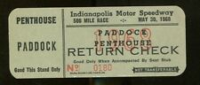 1968 Indy 500 Paddock Penthouse Return Check Ticket Indianapolis Bob Unser 25656