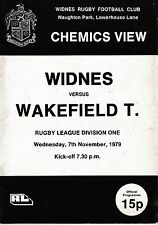 Rugby League Programme WIDNES v WAKEFIELD Nov 1979