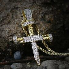Lab Diamond Hip Hop Gold Nail Cross Pendant  With Rope Chain