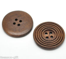 "30PCs Coffee 4 Holes Round Wood Sewing Buttons 30mm(1 1/8"")Dia."