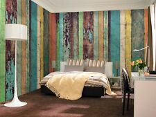 Colored Wooden Wall Wallpaper Mural 3.66m x 2.54m non-woven bedroom living room