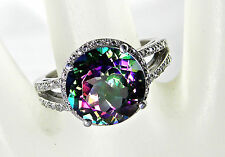 5.61 Carat Total Weight Mystic Topaz & Diamond Silver Ring – Size 7.5