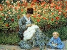 Claude Monet Camille Monet and Child in Artists Garden Oil Painting repro