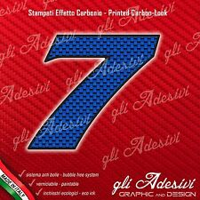 Adesivo Stickers NUMERO 7 moto auto cross gara Carbon Effect Blu 5 cm