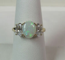 14KT Yellow Gold Custom Made Opal Ring Size 7 Incredible One Of A Kind R6144