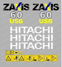 HITACHI ZAXIS 60USB MINI DIGGER DECAL STICKER SET WITH SAFETY WARNING SIGNS