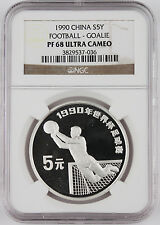 China 1990 Football 5 Yuan Silver Proof Coin NGC PF68 UC Goalie #036 Soccer