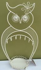 CREAM OWL EARRING JEWELLERY DISPLAY HOLDER TREE STAND  METAL NECKLACE RINGS