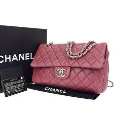 Auth CHANEL CC Matelasse Double Flap Quilted Chain Shoulder Bag Leather 45D051