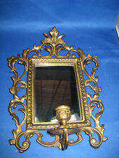 Antique Germany Solid Brass Embossed Mirror with Attached Candle Holder in front
