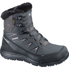 Salomon  Women's  KAINA MID CS WP Waterproof Black / Purple Boots USA 8