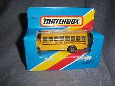 276B Vintage Matchbox 1981 MB 47 Autobus Scolaire Bus School District 2 US 1:76