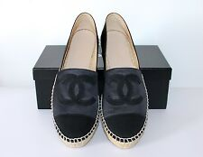 CHANEL 100% AUTHENTIC BLACK SATIN ESPADRILLES FLATS, SIZE 38 RECEIPT NEW in BOX