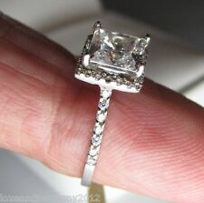 2.37 cts Halo style Princess cut Giamond Engagement ring 14K Solid Gold
