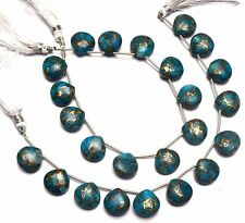 """Natural Gem Mojave Blue Turquoise 14MM Approx Smooth Heart Shape Briolettes 8"""""""