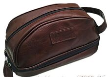 PENGUIN Men's Brown Leather Toiletry Travel Shave Kit Case Bag NWT $50 GIFT