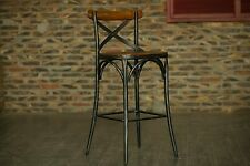 "Metal Bar Stool ZOE 30"" Kitchen Natural Elm Wood Chair Stools SILVER Industrial"