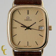 Omega Ω Men's Gold-Plated Quartz Watch w/ Date Feature and Leather Band