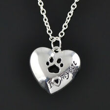 """I Love My Cat"" Silver Heart Pendant Necklace Paw print Pet"