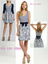 $298 Lilly Pulitzer Roswell Bright Navy Cording We Will Go Bow Belt Dress SZ 6
