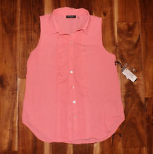 NWT Womens FYLO Coral Pink Print Sheer Sleeveless Top Ruffle Collar Sz S Small