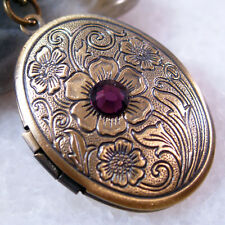 Amethyst CZ Flower Oval Brass Picture Photo Locket Charm Pendant Necklace