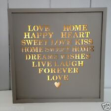 LED Plaque with Love, Home in a Heart Shape in Soft Grey