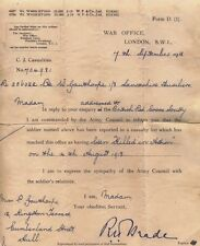 World War I Killed in Action Letter War Office London The Great War British Army