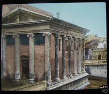 COLOUR Glass Magic Lantern Slide ROME TEMPLE OF FORTUNE C1890  ITALY ROMA