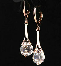 18K ROSE GOLD PLATED HOOP CZ CRYSTAL, FLOWER DROP DANGLE EARRINGS