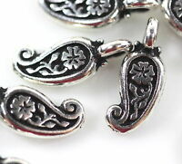 TierraCast~Paisley Mini Charms~ Antiqued Silver Plated Pewter Charms~ 10 Pieces