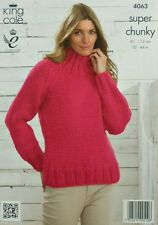 KNITTING PATTERN Ladies Long Sleeve High Neck Jumper Easy Knit Super Chunky 4063