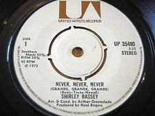 "SHIRLEY BASSEY - NEVER, NEVER, NEVER / DAY BY DAY   7"" VINYL"